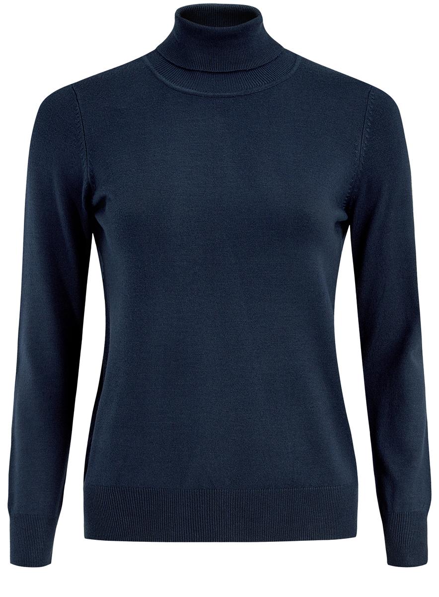 Водолазка женская oodji, цвет: синий. 74412005-5/24525/7500N. Размер XS (42)74412005-5/24525/7500NЖенская водолазка выполнена из вискозы и полиамида. Модель с воротником-гольф и длинными рукавами.