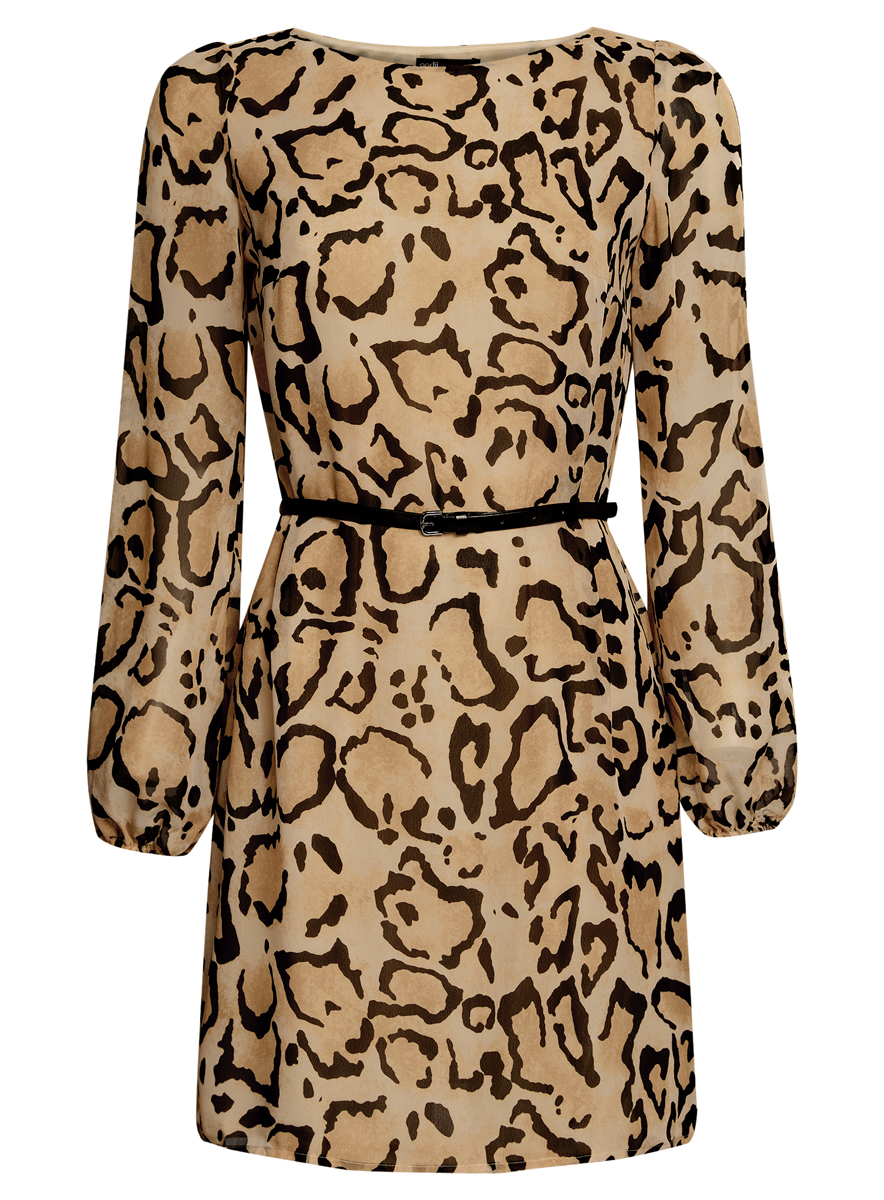 Платье oodji Ultra, цвет: бежевый, черный. 11900150-5/13632/3329A. Размер 38 (44-170)11900150-5/13632/3329AСтильное платье oodji Ultra выполнено из 100% полиэстера. Модель с круглым вырезом горловины и длинными рукавами оформлена интересным принтом. В комплект входит ремень из искусственной кожи с металлической пряжкой.