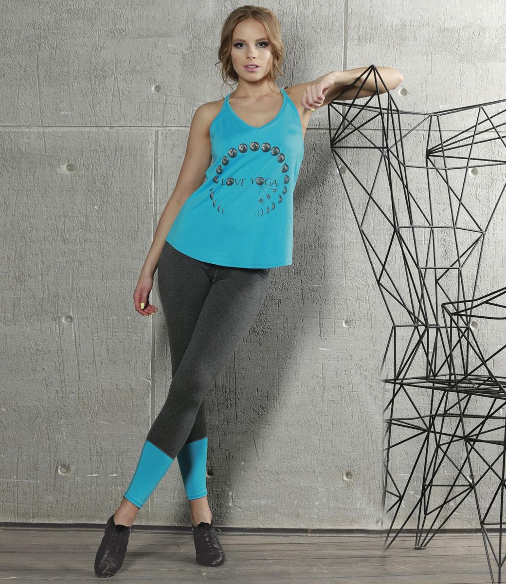 Лосины для йоги женские Grishko, цвет: темно-серый, голубой. AL-2936. Размер L (48)AL-2936Спортивные лосины с высоким корректирующим поясом. Модель выполнена из приятной на ощупь вискозы с лайкрой и оформлена контрастными вставками.