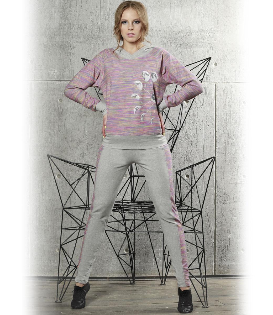 Леггинсы для йоги женские Grishko Yoga, цвет: светло-серый, розовый. AL-2940. Размер XS (42)AL-2940Модные леггинсы отлично сочетаются с джемперами и толстовками из линии Grishko Yoga, создавая ультрасовременный спортивный комплект для занятий и прогулок. Леггинсы выполнены из плотного двухстороннего меланжированнного хлопка с лайкрой нового поколения - необычайно качественного и приятного на ощупь материала. Изделие декорировано широким лампасом актуального цветового сочетания размытого радужного спектра.