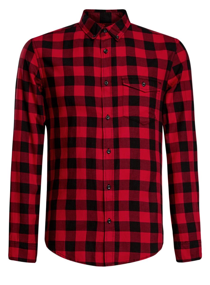 Рубашка мужская oodji, цвет: красный, черный. 3L310129M/39882N/2945C. Размер M (50-182)3L310129M/39882N/2945CСтильная мужская рубашка oodji выполнена из натурального хлопка. Модель с отложным воротником и длинными рукавами застегивается на пуговицы спереди. Манжеты рукавов дополнены застежками-пуговицами. Оформлена рубашка стильным принтом в клетку и дополнена нагрудным накладным кармашком с защитной планкой на пуговице.
