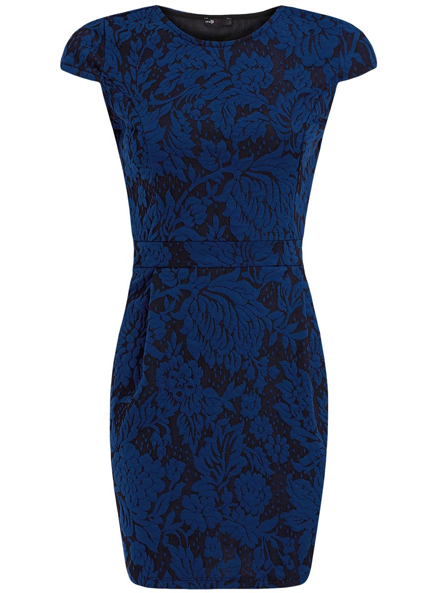 Платье oodji Ultra, цвет: черный, синий. 14001139-3/43631/2975F. Размер XXS (40)14001139-3/43631/2975FЖенское платье-футляр oodji Ultra изготовлено из текстурной мягкой ткани с цветочным принтом. Выполнено с круглым воротом и рукавами-крылышками. Сбоку модель застегивается на потайную застежку-молнию. Благодаря своему дизайну и длине платье отлично подойдет как для повседневной носки, так и для коктейля.