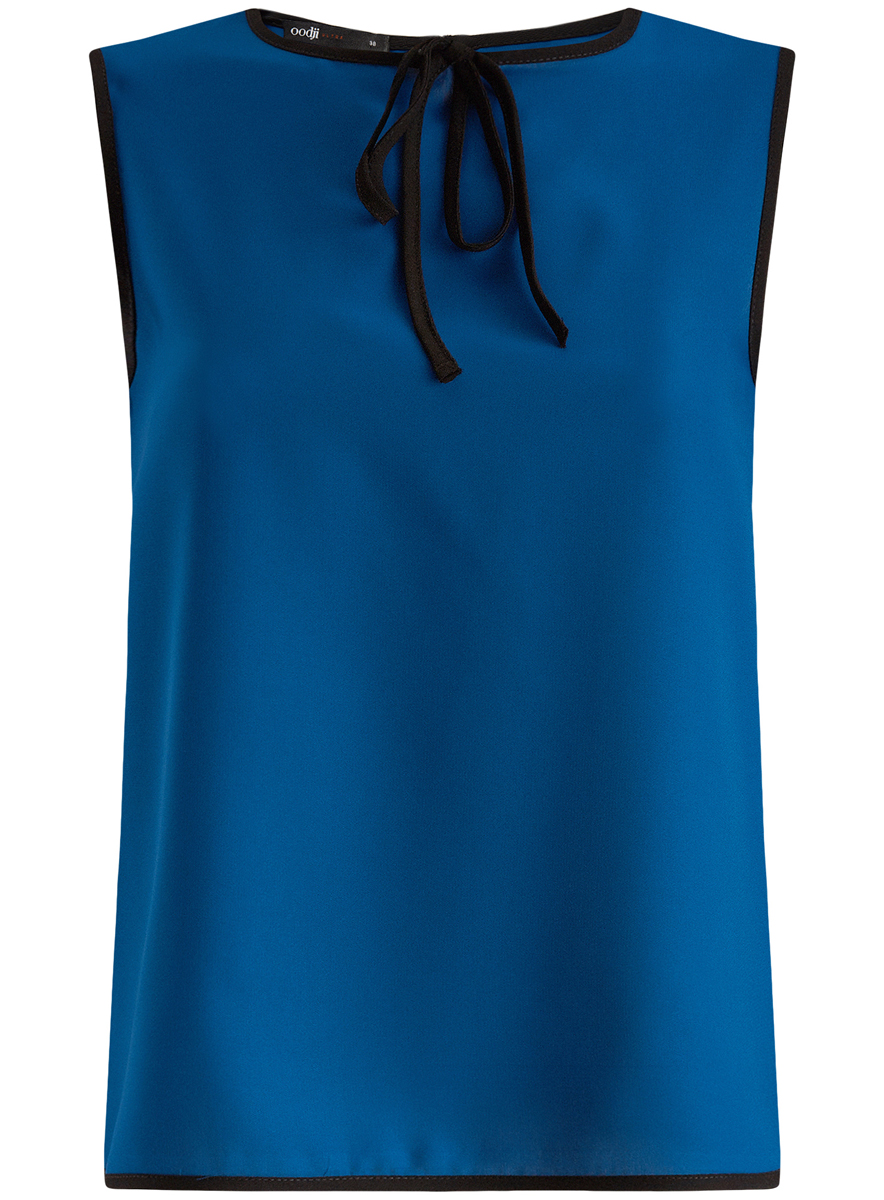 Блузка женская oodji Ultra, цвет: синий, черный. 11411047/42405/7529B. Размер 36-170 (42-170)11411047/42405/7529BМодная женская блузка oodji Ultra изготовлена из высококачественного полиэстера.Модель с круглым вырезом горловины и без рукавов застегивается на пуговицу, расположенную на спинке. Проймы рукавов, вырез горловины и низ изделия оформлены контрастной бейкой. Нижняя часть изделия по боковым швам дополнена небольшими разрезами. Спереди вырез горловины украшен декоративным бантиком.