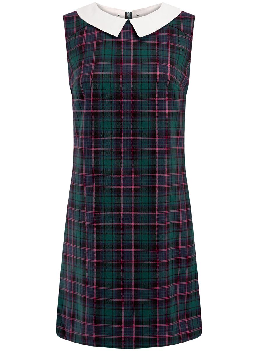 Платье oodji Ultra, цвет: темно-изумрудный, фуксия. 11910080/37836/6E47C. Размер 42 (48-170)11910080/37836/6E47CПлатье oodji Ultra без рукавов имеет прямой силуэт, молнию на спинке и отстежной белый воротничок.