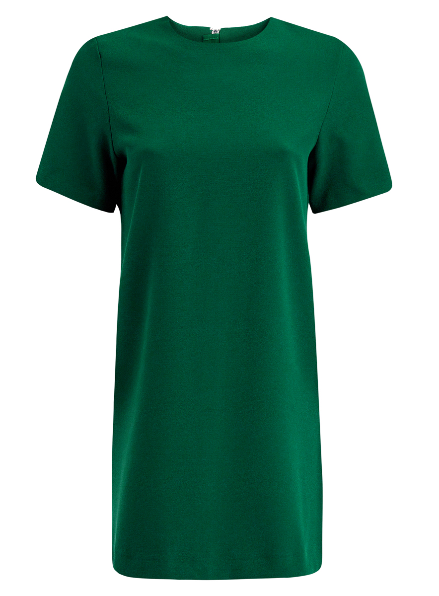 Платье oodji Collection, цвет: изумрудный. 21910002-1/42354/6E00N. Размер 46 (52-170)21910002-1/42354/6E00NМодное платье oodji Collection станет отличным дополнением к вашему гардеробу. Модель выполнена из качественного полиэстера с добавлением эластана.Платье-мини с круглым вырезом горловины и короткими рукавами застегивается сзади по спинке на металлическую застежку-молнию с внутренней защитной планкой. Оформлено изделие в лаконичном стиле.