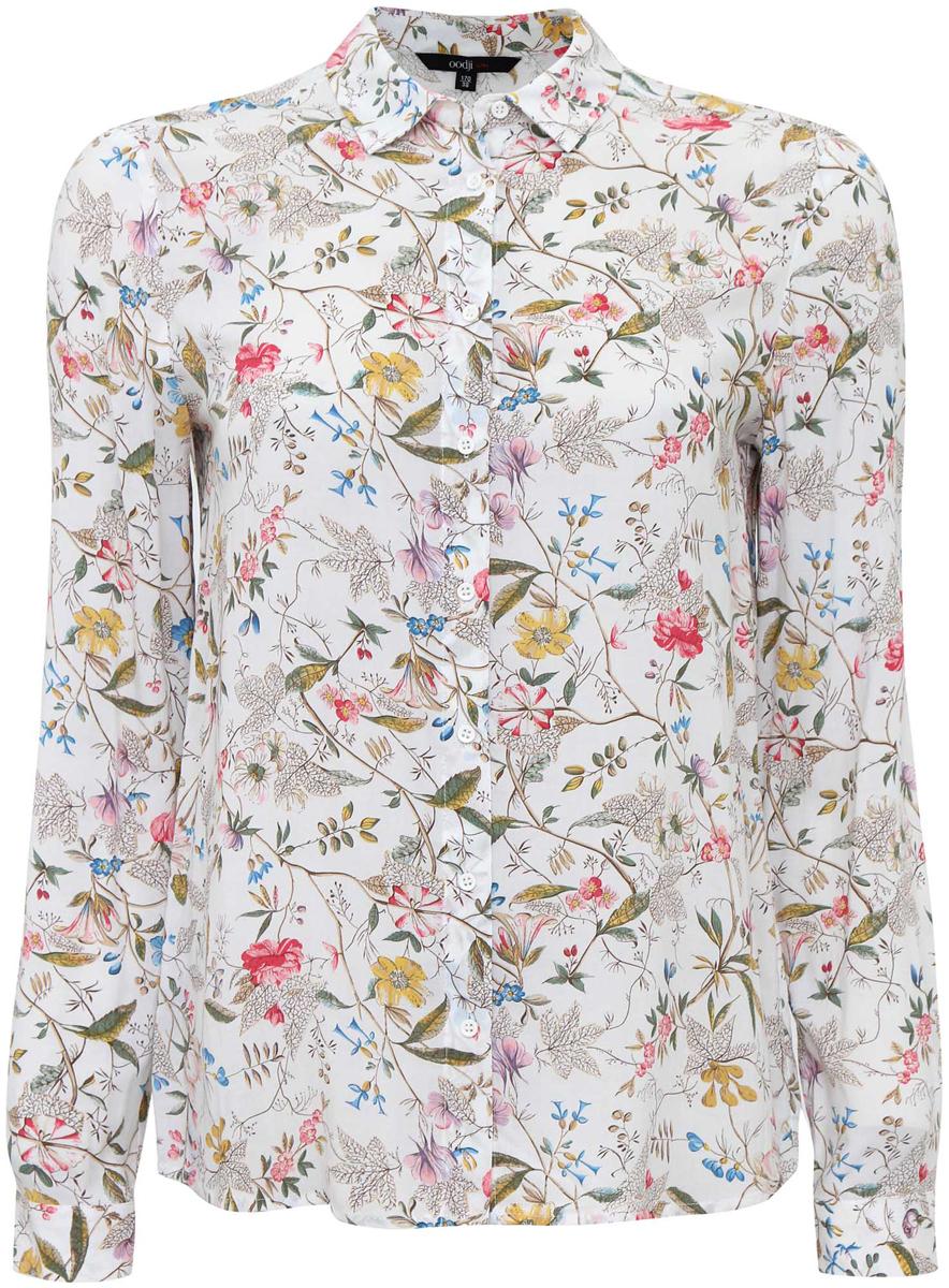 Блузка женская oodji Ultra, цвет: белый, розовый. 11411098-1/24681/124DF. Размер 42 (48-170)11411098-1/24681/124DFЖенская стильная блузка oodji Ultra выполнена из 100% вискозы. Модель с длинными рукавами и отложным воротником застегивается на пуговицы по всей длине, манжеты рукавов также дополнены застежками-пуговицами.