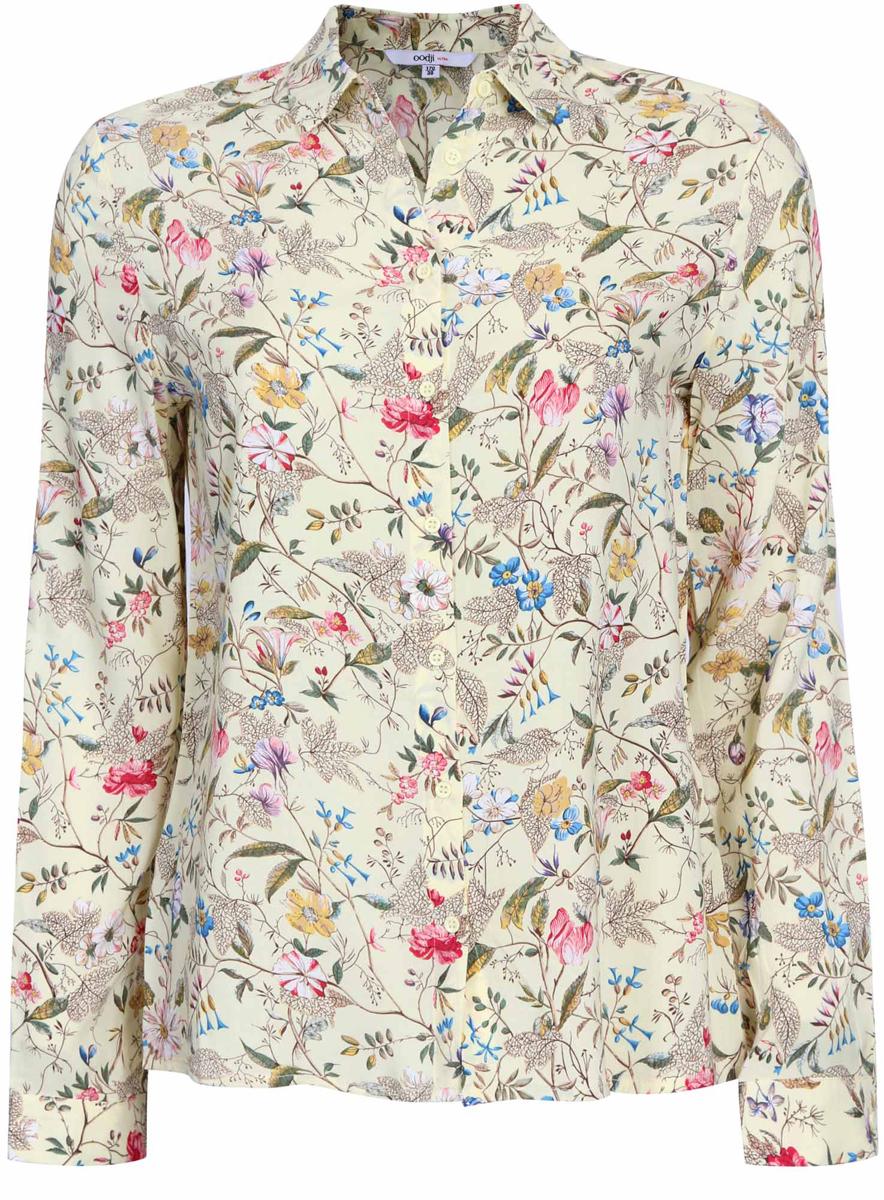 Блузка женская oodji Ultra, цвет: светло-желтый, розовый. 11411098-1/24681/504DF. Размер 44 (50-170)11411098-1/24681/504DFЖенская стильная блузка oodji Ultra выполнена из 100% вискозы в цветочном принте. Модель с длинными рукавами и отложным воротником застегивается на пуговицы по всей длине, манжеты рукавов также дополнены застежками-пуговицами.