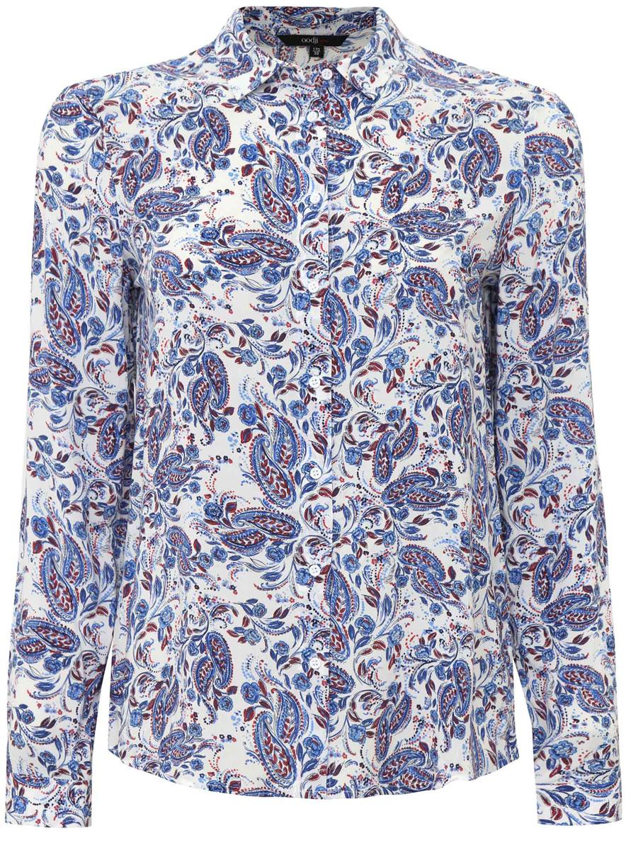 Блузка женская oodji Ultra, цвет: белый, синий. 11411098-1/24681/1275E. Размер 34 (40-170)11411098-1/24681/1275EЖенская стильная блузка oodji Ultra выполнена из 100% вискозы в цветочном принте. Модель с длинными рукавами и отложным воротником застегивается на пуговицы по всей длине, манжеты рукавов также дополнены застежками-пуговицами.