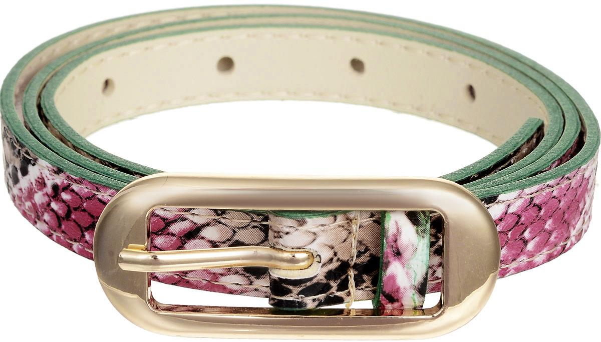 Ремень женский Vittorio Richi, цвет: бежевый, зеленый, розовый. 4410-21/15z. Размер 924410-21/15zЭлегантный тонкий ремень Vittorio Richi выполнен из высококачественной экокожи с тиснением под рептилию. Пряжка, выполненная из металла, позволит легко и быстро зафиксировать ремень и отрегулировать его длину. Уважаемые клиенты! Обращаем ваше внимание на тот факт, что размер ремня, доступный для заказа, является его длиной.