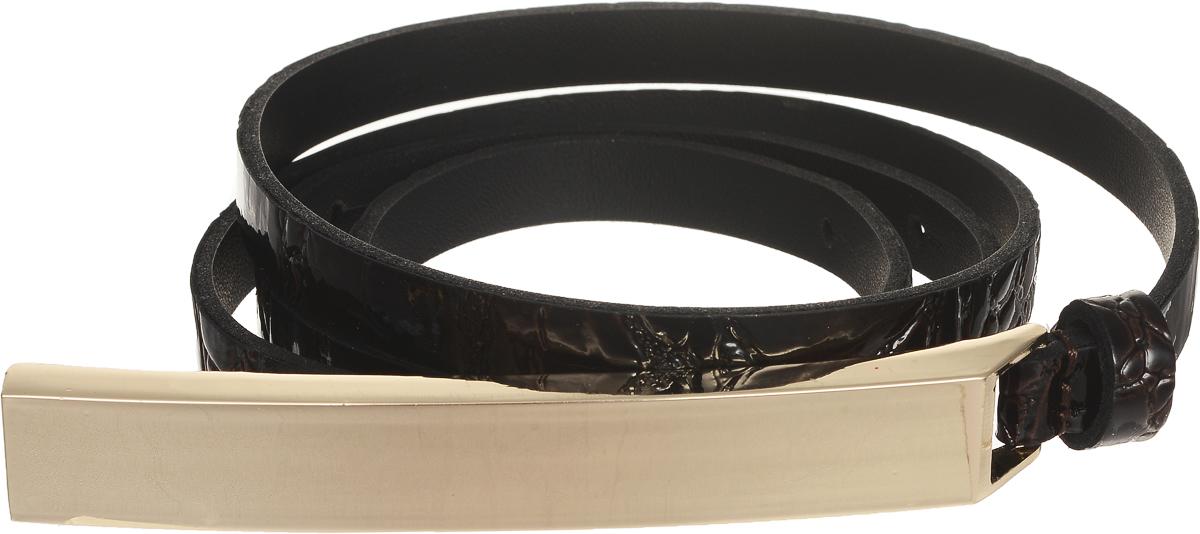 Ремень женский Vittorio Richi, цвет: темно-коричневый. 4411-24/10z. Размер 1154411-24/10zЭлегантный тонкий ремень Vittorio Richi выполнен из высококачественной лаковой экокожи с тиснением под рептилию. Металлическая пряжка, оформленная накладкой из экокожи, позволит легко и быстро зафиксировать ремень и отрегулировать его длину. Уважаемые клиенты! Обращаем ваше внимание на тот факт, что размер ремня, доступный для заказа, является его длиной.