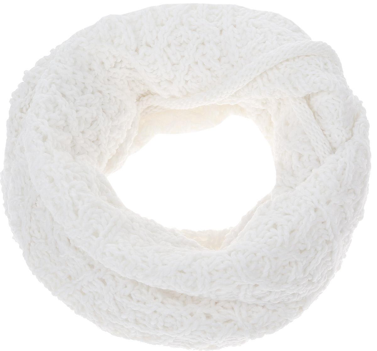 Снуд-хомут женский Snezhna, цвет: белый. 44452/2. Размер 120 см х 40 см44452/2Женский вязаный снуд-хомут Snezhna выполнен из сочетания высококачественного акрила и теплой шерсти, отлично подойдет для повседневной носки в прохладную погоду.Модель связана кольцом и выполнена оригинальной узорчатой вязкой. Изделие мягко драпируется и красиво распределяется в области шеи.
