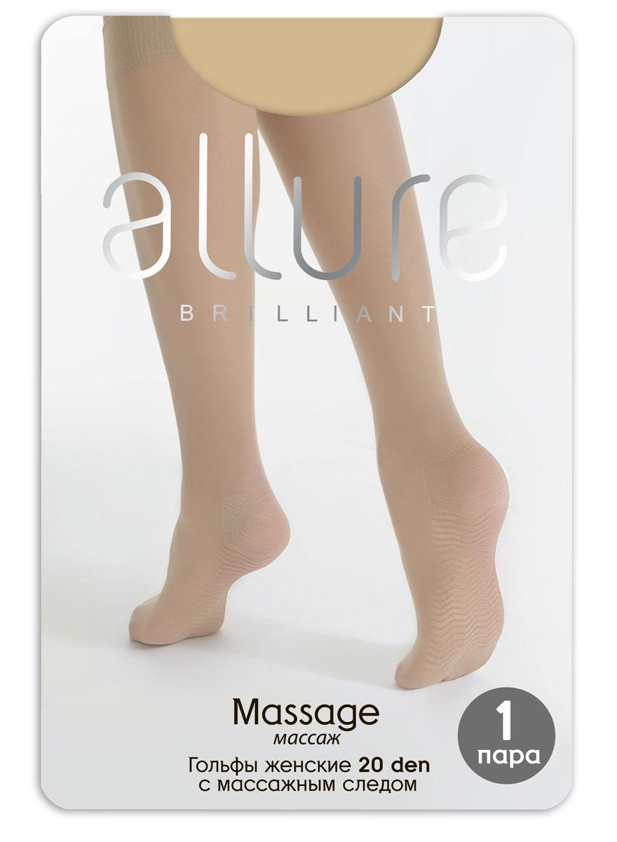 Гольфы Allure Massage 20, цвет: Glase (загар). Размер универсальныйMassage 20Эластичные гольфы с массажным следом и резинкой топ-комфорт. За счет неоднородной поверхности обеспечивают мягкий точечный массаж стопы.