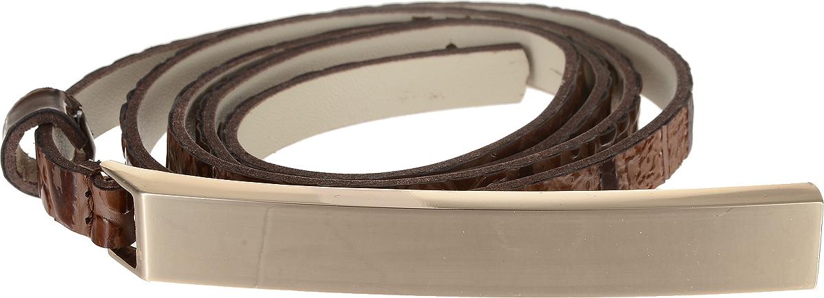 Ремень женский Vittorio Richi, цвет: коричневый. 4407-24/10z. Размер 1154407-24/10zЭлегантный тонкий ремень Vittorio Richi выполнен из высококачественной лаковой экокожи с тиснением под рептилию. Пряжка, выполненная из металла, позволит легко и быстро зафиксировать ремень и отрегулировать его длину. Уважаемые клиенты! Обращаем ваше внимание на тот факт, что размер ремня, доступный для заказа, является его длиной.