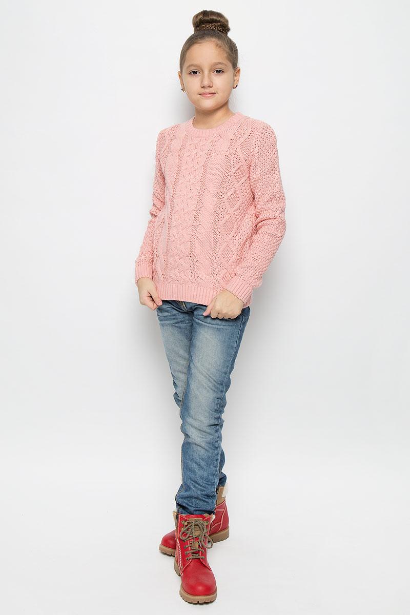 Джемпер для девочки Sela, цвет: бледно-розовый. JR-614/885-6415. Размер 152, 12 летJR-614/885-6415Прелестный джемпер Sela, изготовленный из хлопка с добавлением акрила, станет отличным дополнением к гардеробу вашей девочки. Материал изделия мягкий и приятный на ощупь, не сковывает движения и позволяет коже дышать, не раздражает даже самую нежную и чувствительную кожу ребенка, обеспечивая наибольший комфорт.Модель с круглым вырезом горловины и длинными рукавами оформлена оригинальным вязаным узором. Горловина, манжеты рукавов и низ джемпера связаны резинкой.