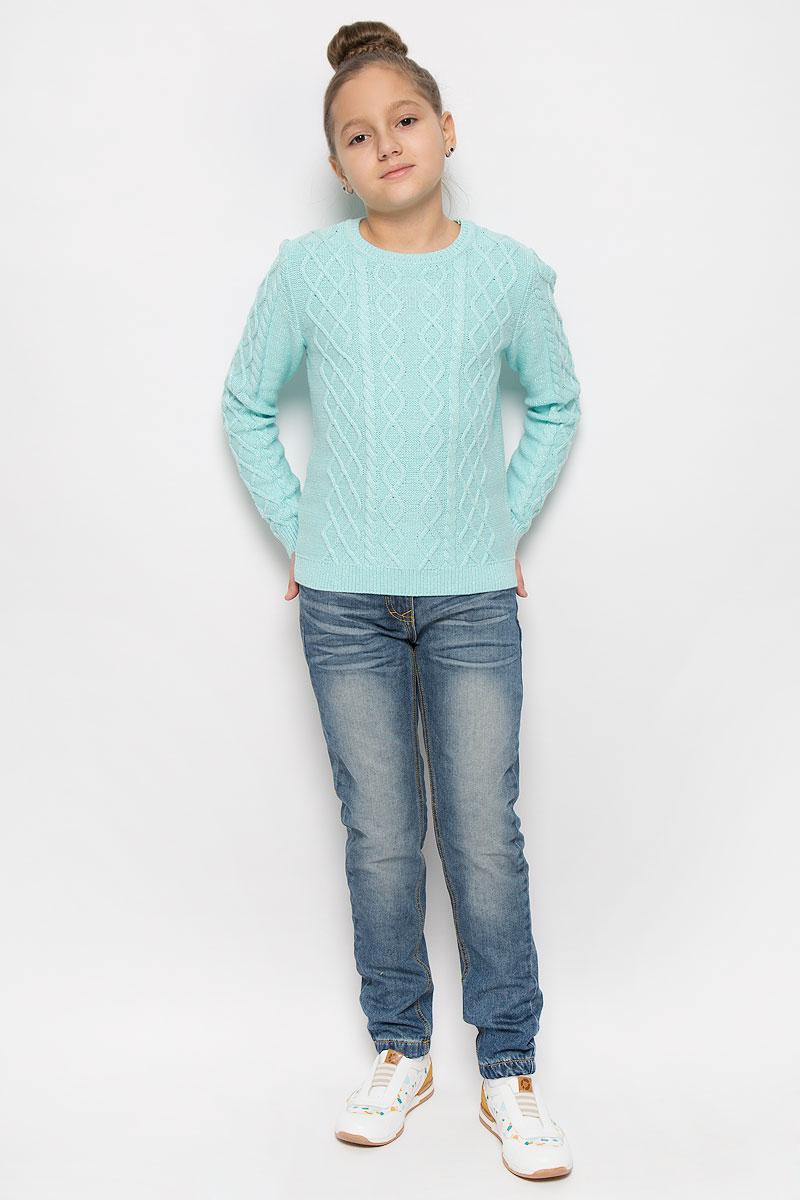 Джемпер для девочки Sela, цвет: светло-ментоловый. JR-614/156-6415. Размер 116, 6 летJR-614/156-6415Прелестный джемпер Sela, изготовленный из хлопка с добавлением шерсти и люрекса, станет отличным дополнением к гардеробу вашей девочки. Материал изделия мягкий и приятный на ощупь, не сковывает движения и позволяет коже дышать, не раздражает даже самую нежную и чувствительную кожу ребенка, обеспечивая наибольший комфорт.Модель с круглым вырезом горловины и длинными рукавами оформлена вязаным узором. Горловина, манжеты рукавов и низ джемпера связаны резинкой. Современный дизайн и расцветка делают этот джемпер стильным предметом детского гардероба. В нем ваша девочка всегда будет в центре внимания!