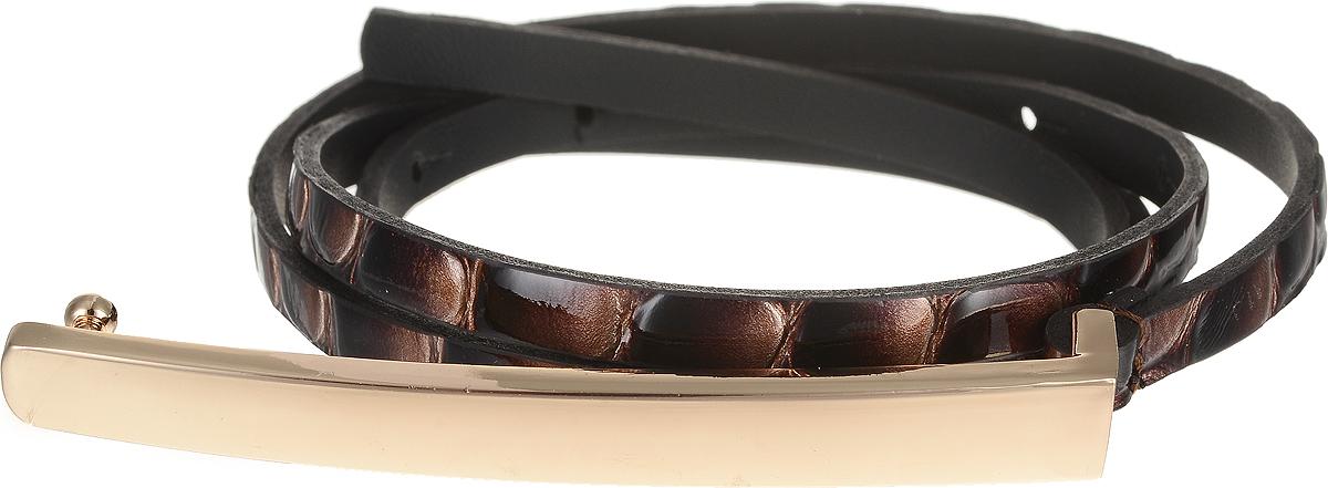 Ремень женский Vittorio Richi, цвет: темно-коричневый. 4405-25/7z. Размер 924405-25/7zЭлегантный тонкий ремень Vittorio Richi выполнен из высококачественной лаковой экокожи с тиснением под рептилию. Пряжка, выполненная из металла, позволит легко и быстро зафиксировать ремень и отрегулировать его длину. Уважаемые клиенты! Обращаем ваше внимание на тот факт, что размер ремня, доступный для заказа, является его длиной.