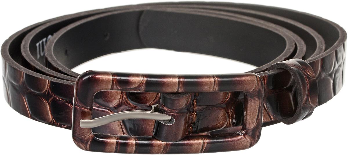Ремень женский Vittorio Richi, цвет: бежево-коричневый. 2212В13-45-3-2/15. Размер 1152212В13-45-3-2/15Элегантный тонкий ремень Vittorio Richi выполнен из высококачественной лаковой экокожи с тиснением под рептилию. Металлическая пряжка, оформленная накладкой из экокожи, позволит легко и быстро зафиксировать ремень и отрегулировать его длину. Уважаемые клиенты! Обращаем ваше внимание на тот факт, что размер ремня, доступный для заказа, является его длиной.
