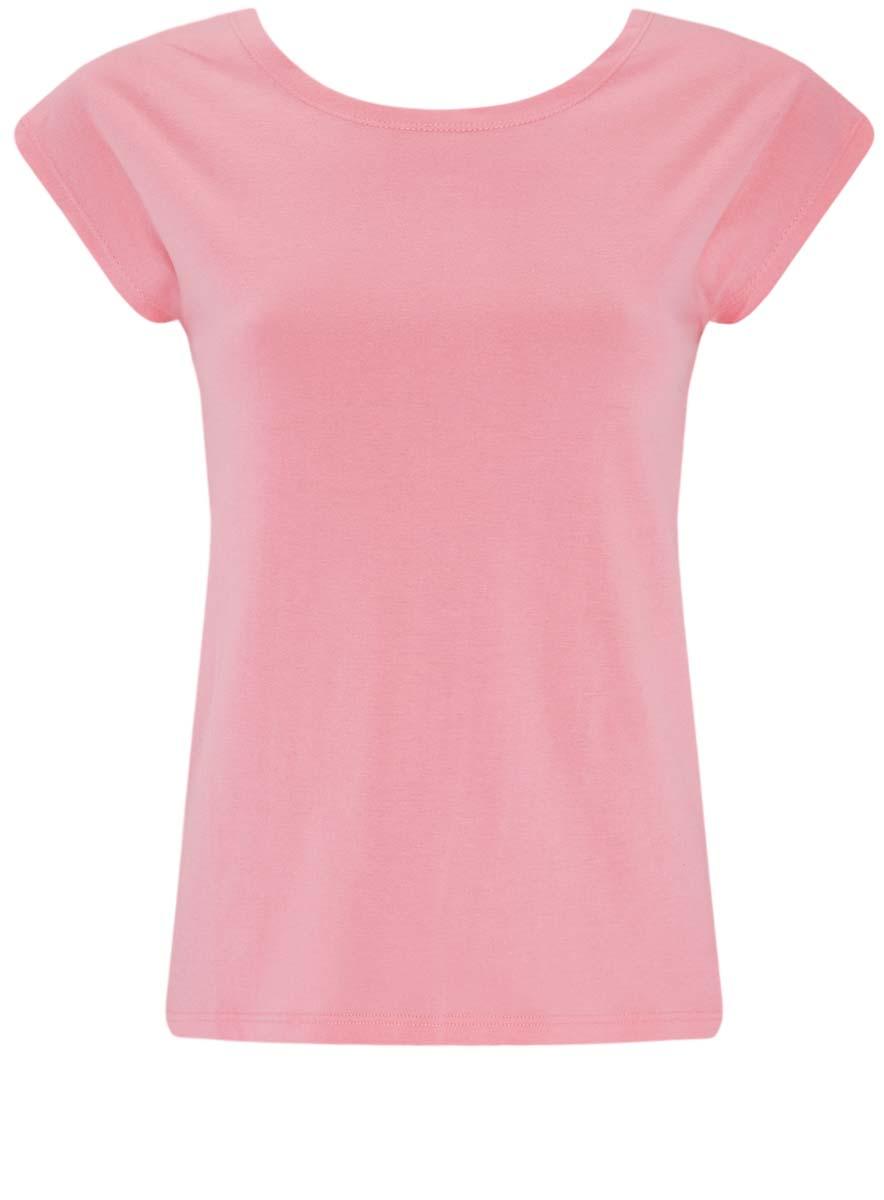 Футболка женская oodji Ultra, цвет: розовый. 14702001/46158/4100N. Размер XXS (40)14702001/46158/4100NМодная женская футболка oodji Ultra изготовлена из натурального хлопка. Модель с круглым вырезом горловины и короткими цельнокроеными рукавами выполнена в лаконичном дизайне.