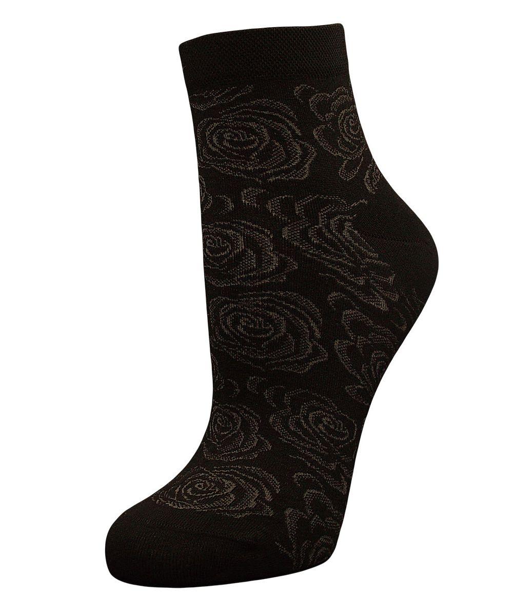 Носки женские Гранд, цвет: асфальтовый, 2 пары. SCL37. Размер 23/25SCL37Женские носки Гранд выполнены из высококачественного хлопка, предназначены для повседневной носки. Укороченные носки оформлены рисунком розочки. Носки долгое время сохраняют форму и цвет, а так же обладают антибактериальными и терморегулирующими свойствами.