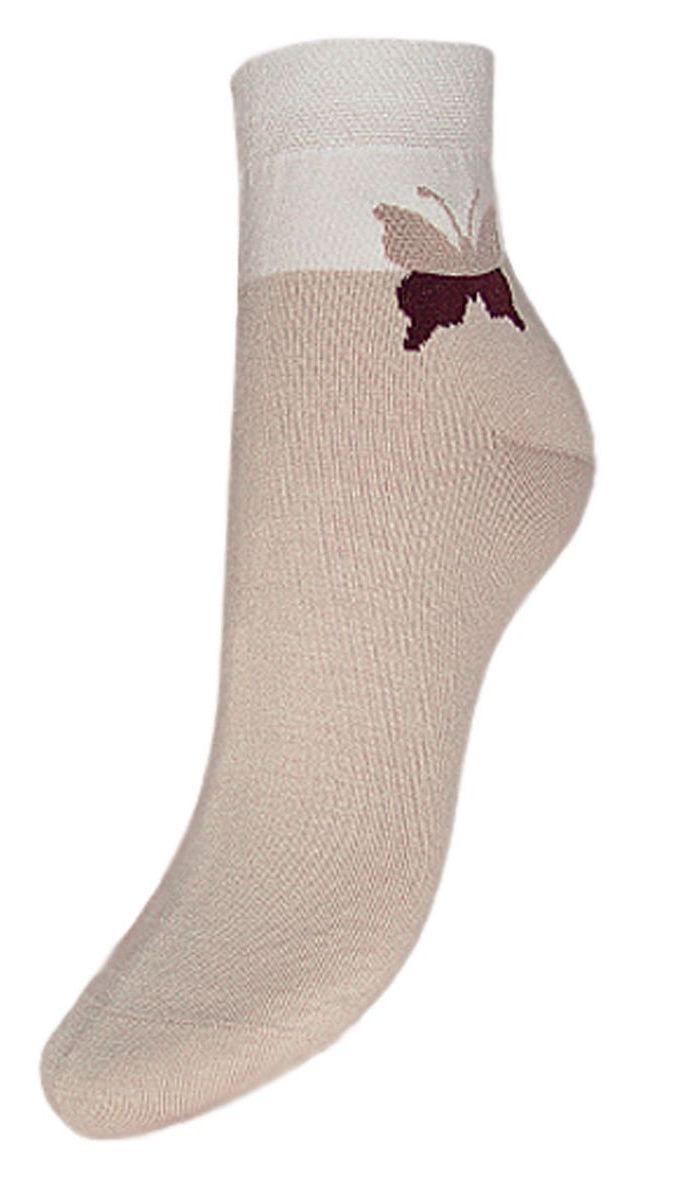 Носки женские Гранд, цвет: бежевый, 2 пары. SCL24. Размер 23/25SCL24Женские носки Гранд выполнены из высококачественного хлопка, предназначены для повседневной носки. Носки с бесшовной технологией зашивки мыска (кеттельный шов), оформленные на паголенке текстурным рисунком бабочка, изготовлены по европейским стандартам из лучшей гребенной пряжи, хорошо держат форму и обладают повышенной воздухопроницаемостью, имеют безупречный внешний вид, усиленные пятку и мысок для повышенной износостойкости, после стирки не меняют цвет. Благодаря свойствам эластана, не теряют первоначальный вид. Носки произведены по европейским стандартам на современных итальянских вязальных автоматах Busi Giovanni.