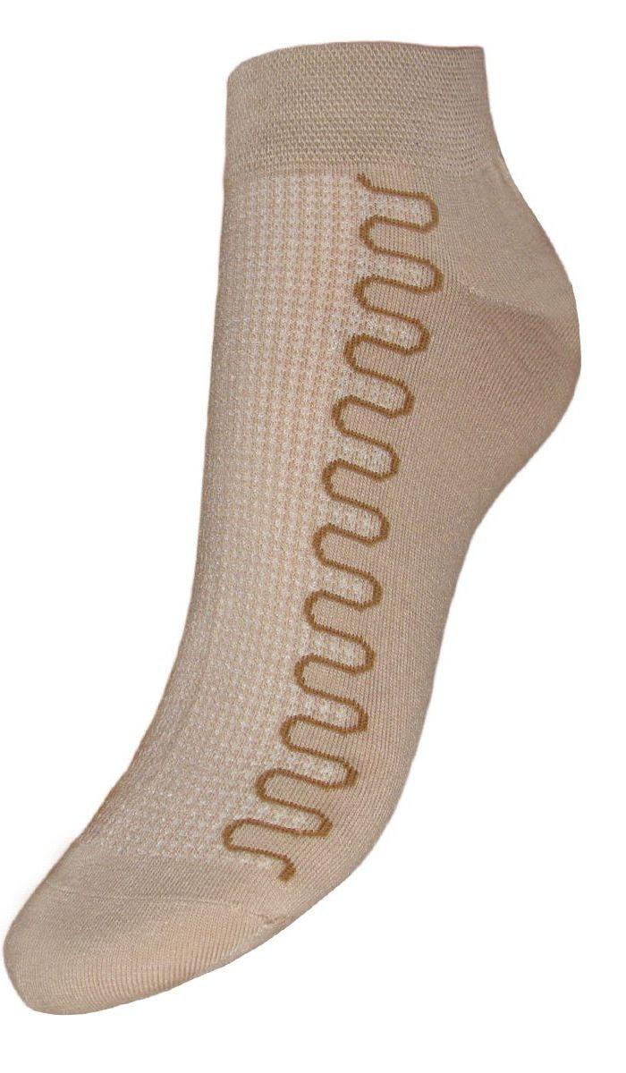 Носки женские Гранд, цвет: бежевый, 2 пары. SCL6. Размер 23/25SCL6Женские укороченные носки Гранд изготовлены из высококачественного хлопка с добавлением полиамидных и эластановых волокон, они обладают антибактериальными и теплоизолирующими свойствами, хорошо впитывают влагу, не садятся и не деформируются. Изделие дополнено рисунком в волна по всему носку. Мягкая анатомическая резинка идеально облегает ногу. Мысок и пятка усилены. В комплект входят две пары носков.
