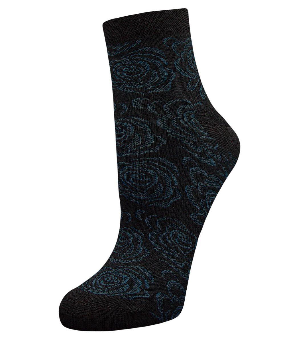 Носки женские Гранд, цвет: темно-синий, 2 пары. SCL37. Размер 23/25SCL37Женские носки Гранд выполнены из высококачественного хлопка, предназначены для повседневной носки. Укороченные носки оформлены рисунком розочки. Носки долгое время сохраняют форму и цвет, а так же обладают антибактериальными и терморегулирующими свойствами.