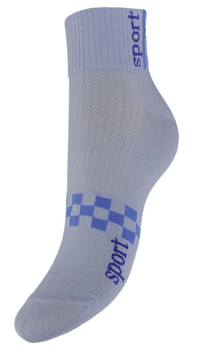 Носки женские Гранд, цвет: голубой, 2 пары. SCL55. Размер 23/25SCL55Женские укороченные носки Гранд выполнены из высококачественного хлопка. Носки, оформленные на паголенке надписью sport, изготовлены по европейским стандартам из самой лучшей гребенной пряжи, имеют усиленные пятку и мысок для повышенной износостойкости. Функция отвода влаги позволяет сохранить ноги сухими. Благодаря свойствам эластана, не теряют первоначальный вид. Носки долгое время сохраняют форму и цвет, а так же обладают антибактериальными и терморегулирующими свойствами.