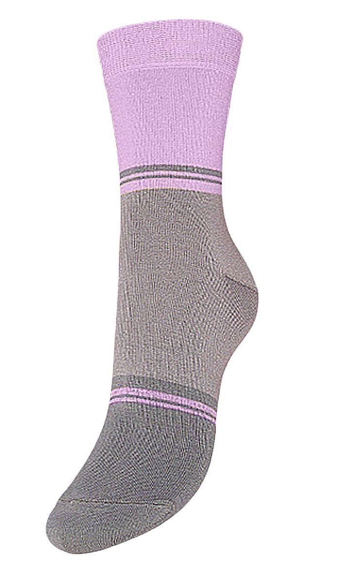 Носки женские Гранд, цвет: серый, сиреневый, 2 пары. SCL40. Размер 23/25SCL40Женские носки Гранд выполнены из высококачественного хлопка, предназначены для повседневной носки. Носки с бесшовной технологией зашивки мыска (кеттельный шов) хорошо держат форму и обладают повышенной воздухопроницаемостью, имеют безупречный внешний вид, усиленные пятку и мысок для повышенной износостойкости, после стирки не меняют цвет. Благодаря свойствам эластана, не теряют первоначальный вид. Носки долгое время сохраняют форму и цвет, а так же обладают антибактериальными и терморегулирующими свойствами.