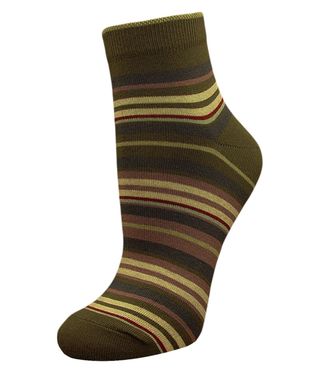 Носки женские Гранд, цвет: хаки, мультиколор, 2 пары. SCL66. Размер 23/25SCL66Женский носки Гранд изготовлены из высококачественного хлопка с добавлением полиамидных и эластановых волокон, которые обеспечивают великолепную посадку.Удобная резинка идеально облегает ногу и не пережимает сосуды, а укороченный паголенок придает более эстетичный вид. Мысок и пятка усилены. В комплект входят две пары носков. Модель оформлена принтом в полоску.