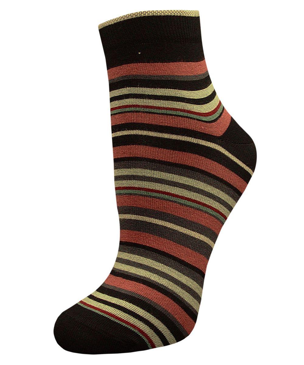 Носки женские Гранд, цвет: черный, мультиколор, 2 пары. SCL66. Размер 23/25SCL66Женский носки Гранд изготовлены из высококачественного хлопка с добавлением полиамидных и эластановых волокон, которые обеспечивают великолепную посадку.Удобная резинка идеально облегает ногу и не пережимает сосуды, а укороченный паголенок придает более эстетичный вид. Мысок и пятка усилены. В комплект входят две пары носков. Модель оформлена принтом в полоску.