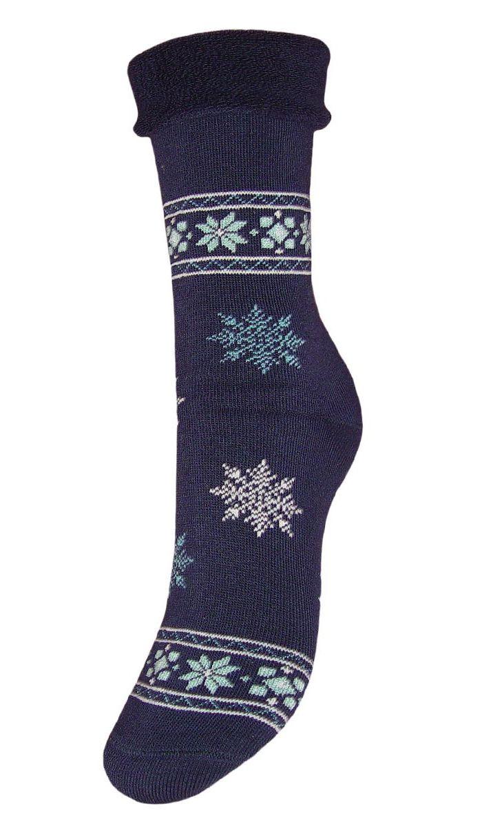 Носки женские махровые Гранд, цвет: темно-синий, 2 пары. SC29M. Размер 23SC29MМахровые женские носки Гранд изготовлены из высококачественного хлопка с добавлением полиамидных и эластановых волокон, они обладают антибактериальными и теплоизолирующими свойствами, хорошо впитывают влагу, не садятся и не деформируются. Изделие оформлено интересным принтом в виде узоров и снежинок. Мягкая резинка с компрессионным эффектом идеально облегает ногу. Мысок и пятка усилены. В комплект входят две пары носков.