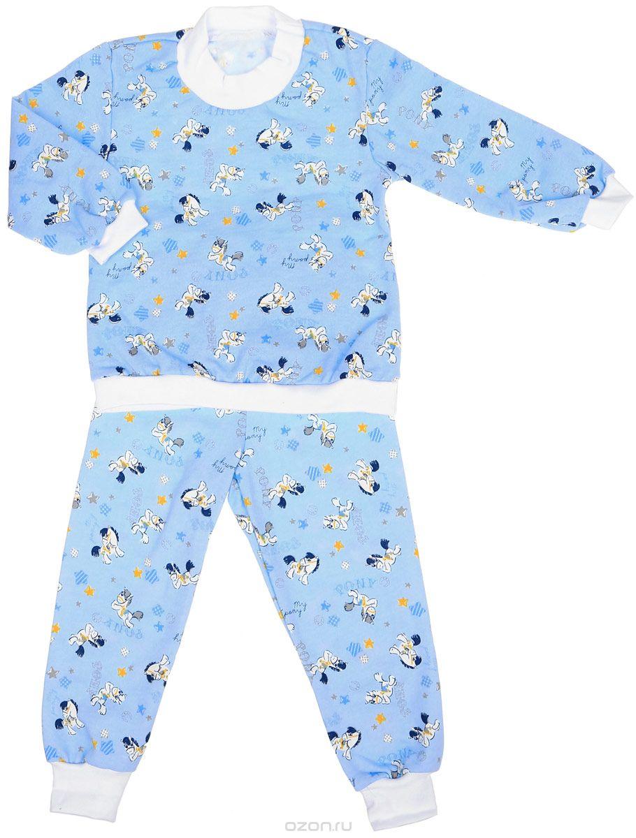 Пижама детская Фреш Стайл, цвет: голубой. 21-5872. Размер 9821-5872Детская пижама Фреш Стайл выполнена из натурального хлопка. Изнаночная сторона изделия с мягким и теплым начесом. Футболка с длинными рукавами имеет круглый вырез горловины, оформленный трикотажной резинкой. На рукавах предусмотрены мягкие манжеты. Низ изделия дополнен широкой трикотажной резинкой.Брюки имеют эластичный пояс. Брючины дополнены манжетами.Пижама оформлена принтом.