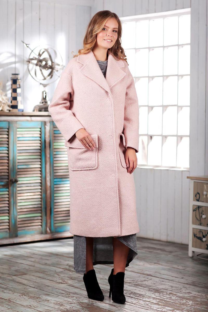 Пальто женское Ruxara, цвет: персиковый. 2301241. Размер 442301241Элегантное демисезонное пальто на подкладке. Модель прямого кроя длиной ниже колена с длинным рукавом. Горловина оформлена отложным воротником с широкими лацканами. На полочке выполнены накладные карманы с отворотами, имитирующими клапаны. Впереди потайная застежка на кнопки. Пальто станет удачным дополнением к осеннему гардеробу.