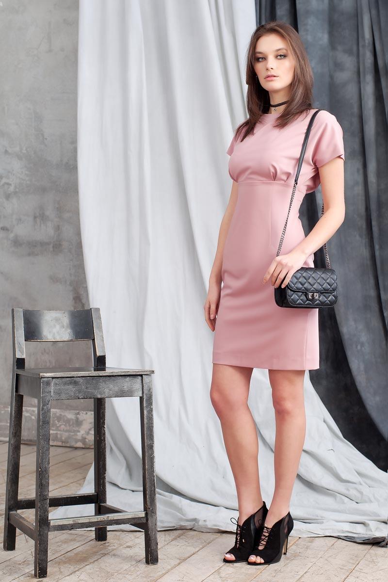 Платье Ruxara, цвет: темно-розовый. 0107800. Размер 480107800Стильное прямое платье длиной до колена отрезное по линии талии. Рукав короткий цельнокроеный. На спинке разрез до талии, застегивается на две пуговицы у шеи. Застежка на молнию в среднем шве спинки юбки.