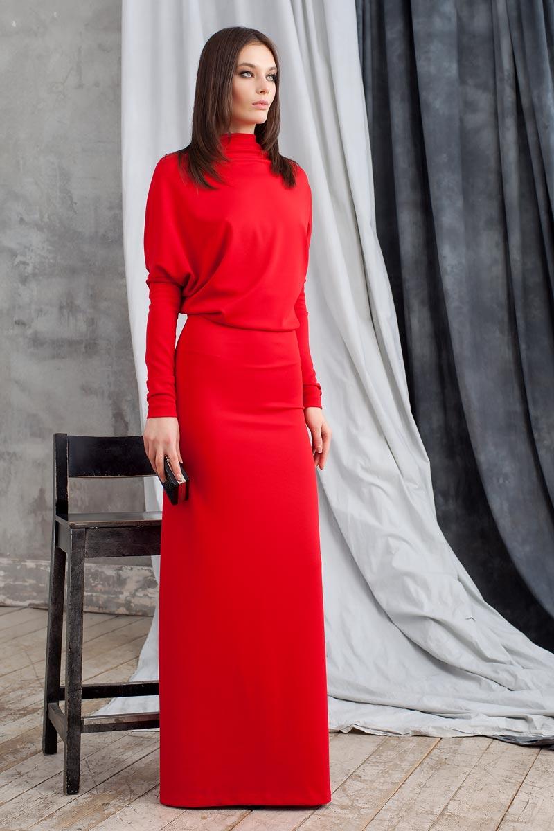 Платье Ruxara, цвет: красный. 0103603. Размер 420103603Элегантное платье Ruxara станет отличным дополнением к вашему гардеробу. Модель выполнена из микрофибры с добавлением спандекса. Платье-макси с воротником-качели и длинными рукавами оформлено вырезом на спинке.