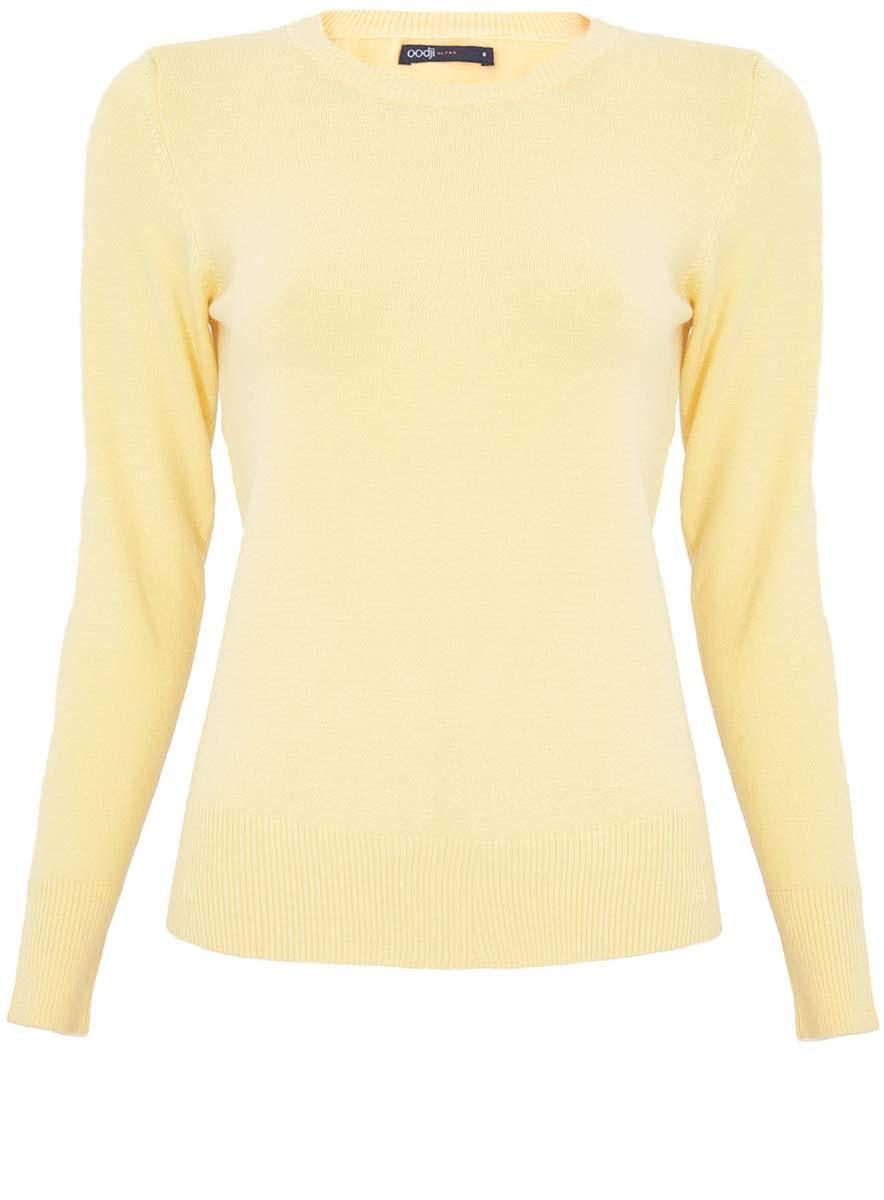 Джемпер женский oodji Ultra, цвет: желтый. 63812409-4/38149/5200N. Размер L (48)63812409-4/38149/5200NСтильный женский джемпер oodji Ultra выполнен из качественного комбинированного материала.Модель с длинными рукавами и круглым вырезом горловины выполнена в лаконичном дизайне. Манжеты, горловина и низ джемпера выполнены из трикотажной резинки.