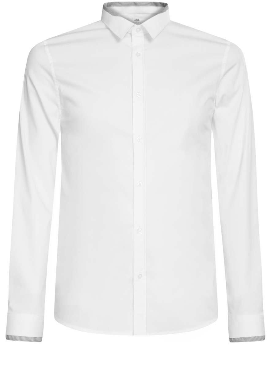 Рубашка мужская oodji, цвет: белый. 3L140110M/34146N/1029B. Размер 39 (46-182)3L140110M/34146N/1029BМужская рубашка oodji выполнена из эластичного хлопка с добавлением полиамида. Рубашка кроя extra slim с длинными рукавами и отложным воротником застегивается на пуговицы спереди. Манжеты рукавов также застегиваются на пуговицы. Воротник и манжеты рукавов рубашки оформлены тонкими контрастными полосками.