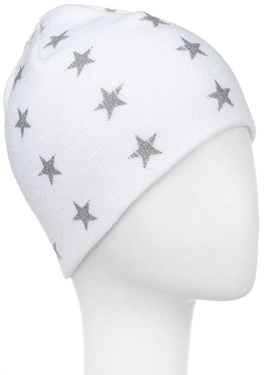 Шапка Ignite, цвет: белый. 303294. Размер 54/56303294Теплая шапка Ignite выполнена из высококачественного акрила. Двойная модель оформлена стильным принтом с изображением блестящих звезд. Уважаемые клиенты!Размер, доступный для заказа, является обхватом головы.