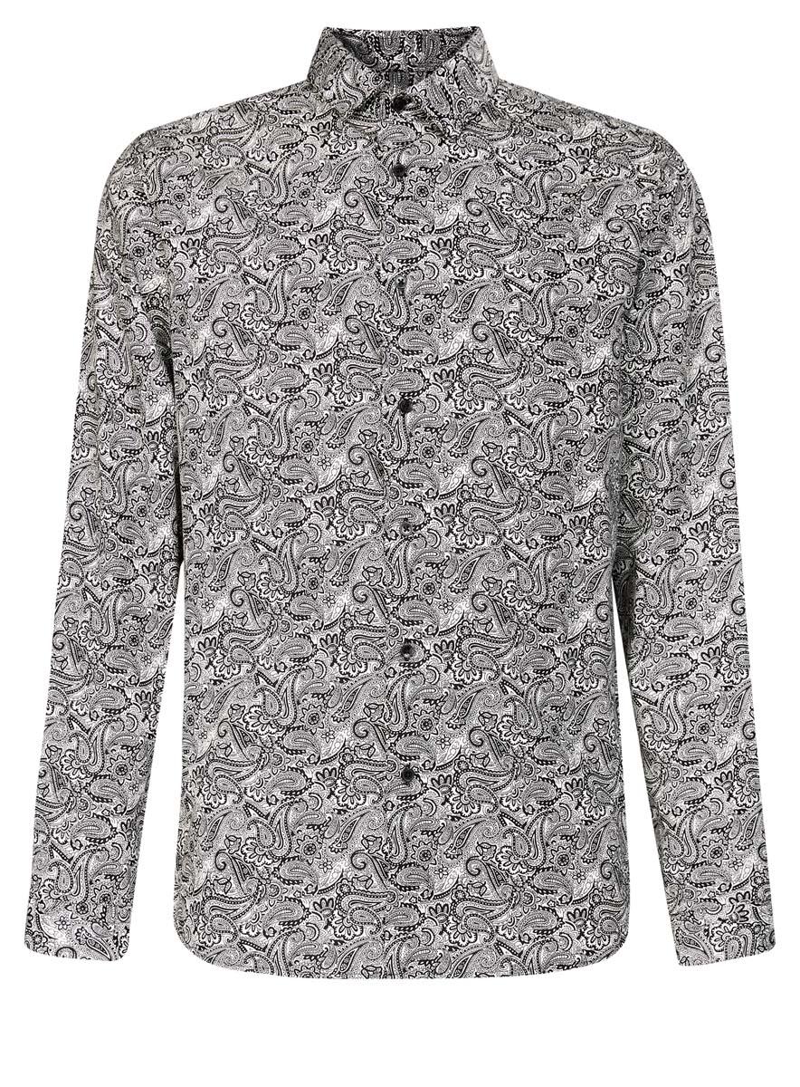 Рубашка мужская oodji, цвет: белый, черный. 3L110219M/19370N/1029E. Размер 37 (42-182)3L110219M/19370N/1029EМужская рубашка oodji выполнена из натурального хлопка. Рубашка кроя slim с длинными рукавами и отложным воротником застегивается на пуговицы спереди. Манжеты рукавов также застегиваются на пуговицы. Рубашка оформлена оригинальным этническим орнаментом.