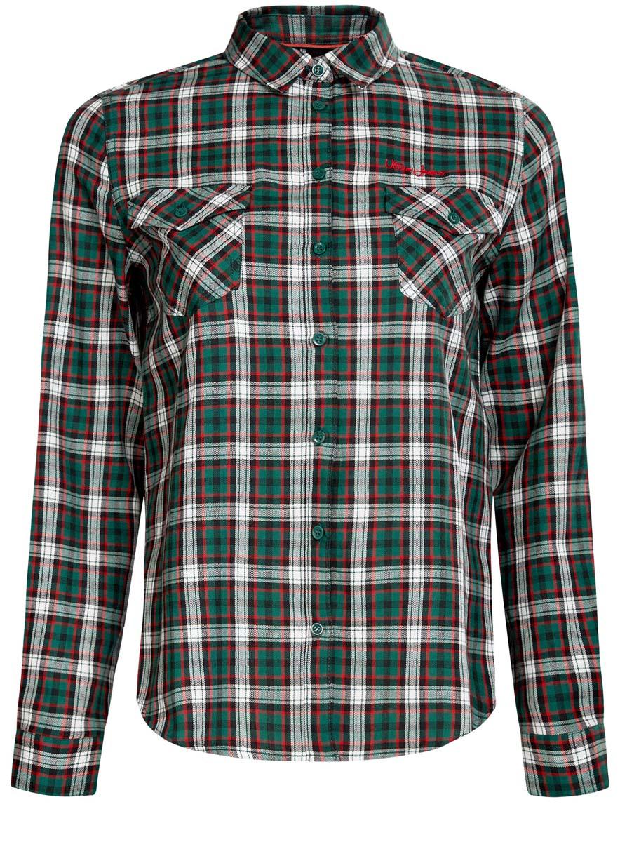 Рубашка женская oodji Ultra, цвет: зеленый, белый, красный. 11400433-1/43223/6E12C. Размер 40 (46-170)11400433-1/43223/6E12CСтильная женская рубашка oodji Ultra выполнена из натурального хлопка. Модель с отложным воротником и длинными рукавами застегивается спереди на пуговицы. Манжеты на рукавах также имеют застежки-пуговицы. Оформлена рубашка модным принтом в клетку и дополнена двумя накладными карманами с клапанами на пуговицах.