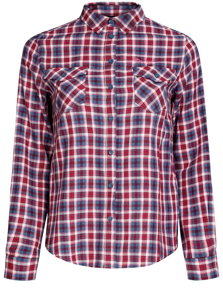 Рубашка женская oodji Ultra, цвет: красный, голубой, белый. 11400433-1/43223/7445C. Размер 40 (46-170)11400433-1/43223/7445CСтильная женская рубашка oodji Ultra выполнена из натурального хлопка. Модель с отложным воротником и длинными рукавами застегивается спереди на пуговицы. Манжеты на рукавах также имеют застежки-пуговицы. Оформлена рубашка модным принтом в клетку и дополнена двумя накладными карманами с клапанами на пуговицах.