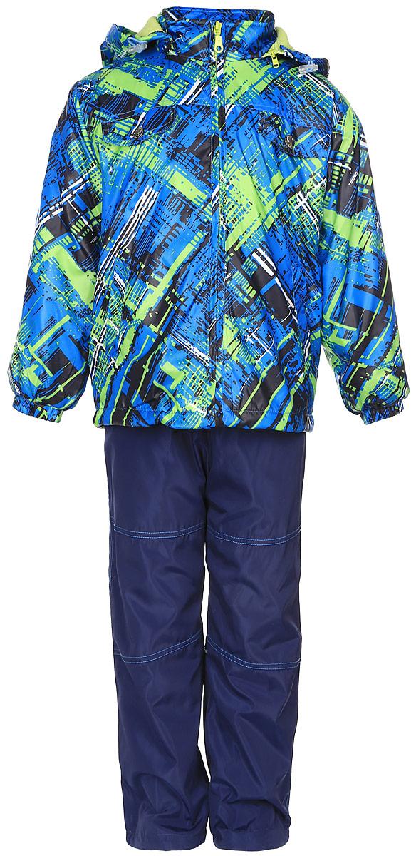 Комплект для мальчика M&D: ветровка, брюки, лонгслив, цвет: зеленый, синий. VB111606RD-14. Размер 104VB111606RD-14Красивый и яркий комплект для мальчика M&D, состоящий из ветровки, брюк и лонгслива, идеально подойдет для вашего ребенка в прохладную погоду. Ветровка изготовлена из полиэстера на мягкой флисовой подкладке. Модель со съемным капюшономзастегивается на пластиковую молнию с защитой подбородка. Капюшон по краю дополнен затягивающимся шнурком со стопперами. Низ рукавов дополнен эластичными резинками. Спереди расположены два прорезных кармана, на груди модель оформлена имитацией карманов с клапанами на кнопках. По низу изделия проходит регулируемый эластичный шнурок со стопперами. Брюки выполнены из полиэстера с подкладкой из натурального хлопка. Модель прямого кроя на талии имеетэластичную резинку, благодаря чему брюки не сдавливают животик ребенка и не сползают. Спереди расположены два втачных кармана. По низу брючин предусмотрена утяжка в виде резинок со стопперами. На ветровке и брюках предусмотрены светоотражающие вставки для безопасности ребенка в темное времясуток. Лонгслив изготовлен из натурального хлопка. Модель с круглым вырезом горловины и длинными рукавамиоформлена оригинальным принтом и надписью. Горловина дополнена мягкой трикотажной резинкой.