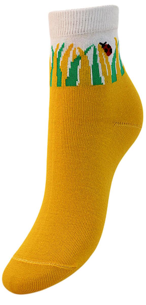 Носки детские Гранд, цвет: желтый, 2 пары. YCL33. Размер 16/18YCL33Детские носки выполнены из высококачественного хлопка. Носки с текстурным рисунком на паголенке божья коровка сидит на травке хорошо держат форму и обладают повышенной воздухопроницаемостью, имеют безупречный внешний вид, после стирки не меняют цвет, усилены пятка и мысок для повышенной износостойкости. Носки долгое время сохраняют форму и цвет, а так же обладают антибактериальными и терморегулирующими свойствами.