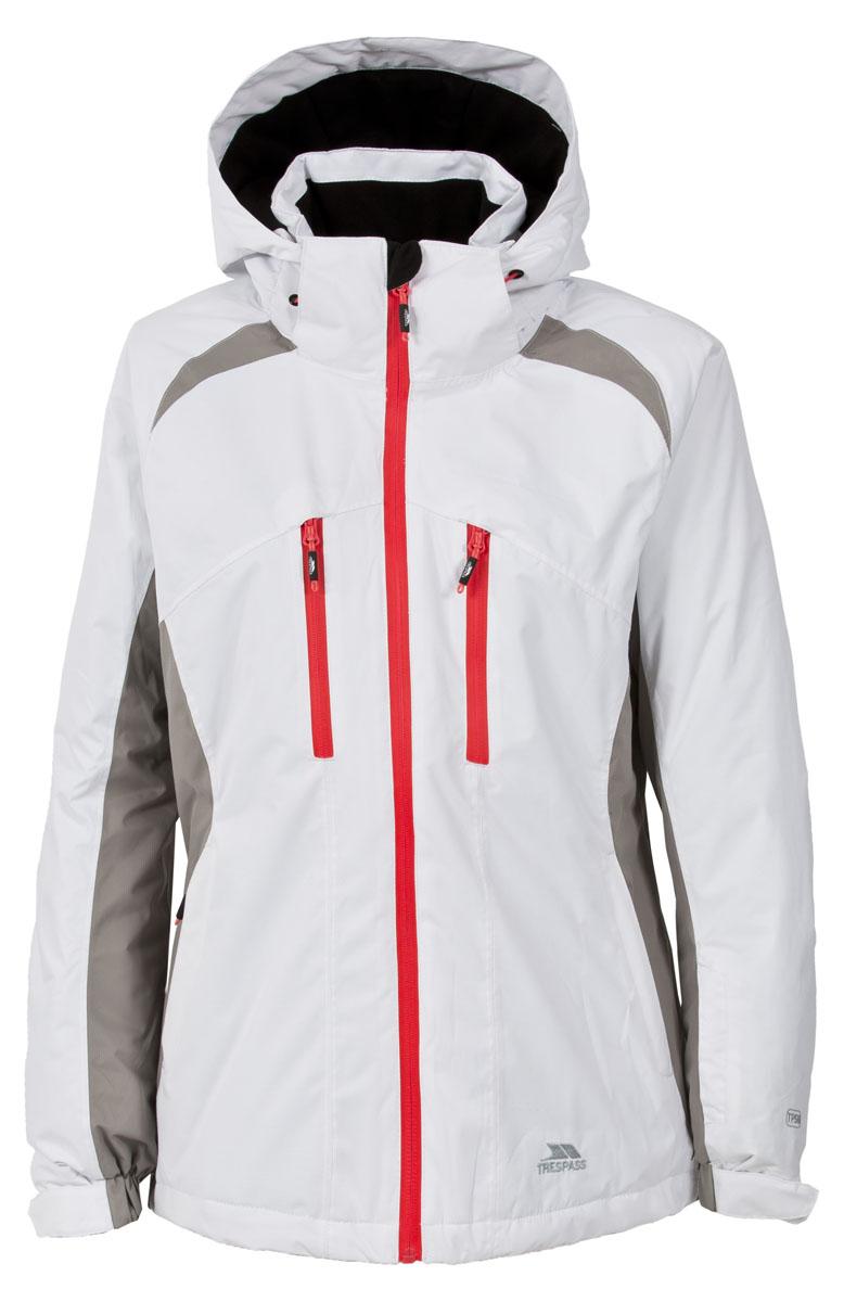 Куртка для сноуборда женская Trespass Adelena, цвет: белый, серый. FAJKSKL20012. Размер XS (42)FAJKSKL20012Великолепная утепленная куртка Trespass Adelena выполнена из 100% полиэстера. Утеплитель ColdHeat 160 г/м2 (синтетический, микроволоконный с функцией быстрого отвода влаги и высоким уровнем теплозащиты и износостойкости). Верхний материал непромокаемый 5000 мм. Все швы проклеены. Ветрозащитная юбка. Прекрасно подойдет как для города, так и для отдыха на природе.