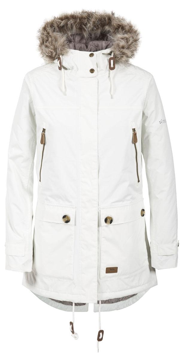 Куртка женская Trespass Clea, цвет: белый. FAJKRAL20002. Размер XL (50)FAJKRAL20002Великолепная утепленная куртка Trespass Clea застегивается на застежку-молнию и кнопки. Верхний материал непромокаемый 2000мм. Утеплитель ColdHeat 140 г/м2 (синтетический, микроволоконный с функцией быстрого отвода влаги и высоким уровнем теплозащиты и износостойкости). Каждый простроченный шов от иглы оставляет сотни отверстий, через которые влага может проникать внутрь куртки. Применение технологии Taped Seams - обработка швов термо-пластичесткой лентой под высоким давлением - запечатывает швы, тем самым препятствуя проникновению влаги внутрь куртки, дополнительно обеспечивая вашему телу сухость и комфорт. Регулируемый капюшон. Прекрасно подойдет как для города, так и для отдыха на природе.