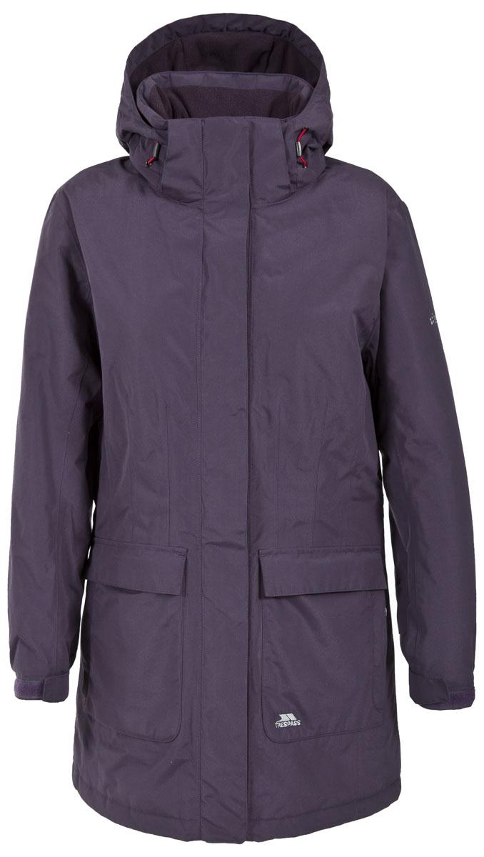 Куртка женская Trespass Franchesca, цвет: фиолетовый. FAJKRAL20004. Размер XXL (52)FAJKRAL20004Великолепная утепленная куртка Trespass Franchesca застегивается на застежку-молнию. Верхний материал непромокаемый 2000мм. Утеплитель ColdHeat 160 г/м2 (синтетический, микроволоконный с функцией быстрого отвода влаги и высоким уровнем теплозащиты и износостойкости). Каждый простроченный шов от иглы оставляет сотни отверстий, через которые влага может проникать внутрь куртки. Применение технологии Taped Seams - обработка швов термо-пластичесткой лентой под высоким давлением - запечатывает швы, тем самым препятствуя проникновению влаги внутрь куртки, дополнительно обеспечивая вашему телу сухость и комфорт. Регулируемый капюшон. Прекрасно подойдет как для города, так и для отдыха на природе.