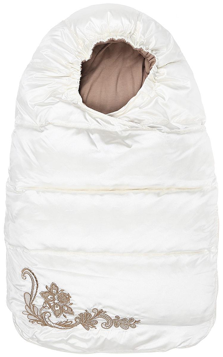 Конверт для новорожденного Ёмаё, цвет: кремовый. 68-112. Размер 62/6868-112Конверт-кокон для новорожденного Ёмаё выполнен из ткани с водоотталкивающими свойствами. Подкладка изготовлена из натурального хлопка. В качестве утеплителя используются пух и перо.Конверт оснащен удобной застежкой-молнией. С внутренней стороны модель застегивается с помощью кнопок. По лицевому срезу изделия предусмотрена эластичная резинка. Конверт украшен вышивкой. Теплая и удобная модель идеально подойдет для первых месяцев жизни младенца. Температурный режим до -30°С.