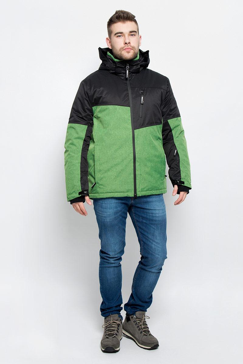 Куртка мужская Baon, цвет: зеленый, черный. B536904. Размер XL (52)B536904_WASABI-BLACKМужская куртка Baon изготовлена из высококачественного полиэстера. В качестве утеплителя используется полиэстер.Куртка с воротником-стойкой и съемным капюшоном застегивается на застежку-молнию с двумя бегунками и защитой для подбородка, а также дополнительно имеет внутреннюю ветрозащитную планку. Капюшон оснащен эластичными шнурками со стопперами и пристегивается к куртке с помощью застежки-молнии. Рукава дополнены внутренними эластичными манжетами с отверстиями для больших пальцев и хлястиками на липучках. Под рукавом расположена застежка-молния и сетчатый материал для дополнительной вентиляции. Низ изделия дополнен съемной ветрозащитной планкой на кнопках. Объем по низу регулируется с помощью эластичного шнурка со стоппером. Спереди имеются три прорезных кармана на застежках-молниях, с внутренней стороны - прорезной карман на застежке-молнии и небольшой накладной карман-сетка на кнопке. На левом рукаве расположен небольшой прорезной карман на застежке-молнии . Куртка оформлена фирменными нашивками.