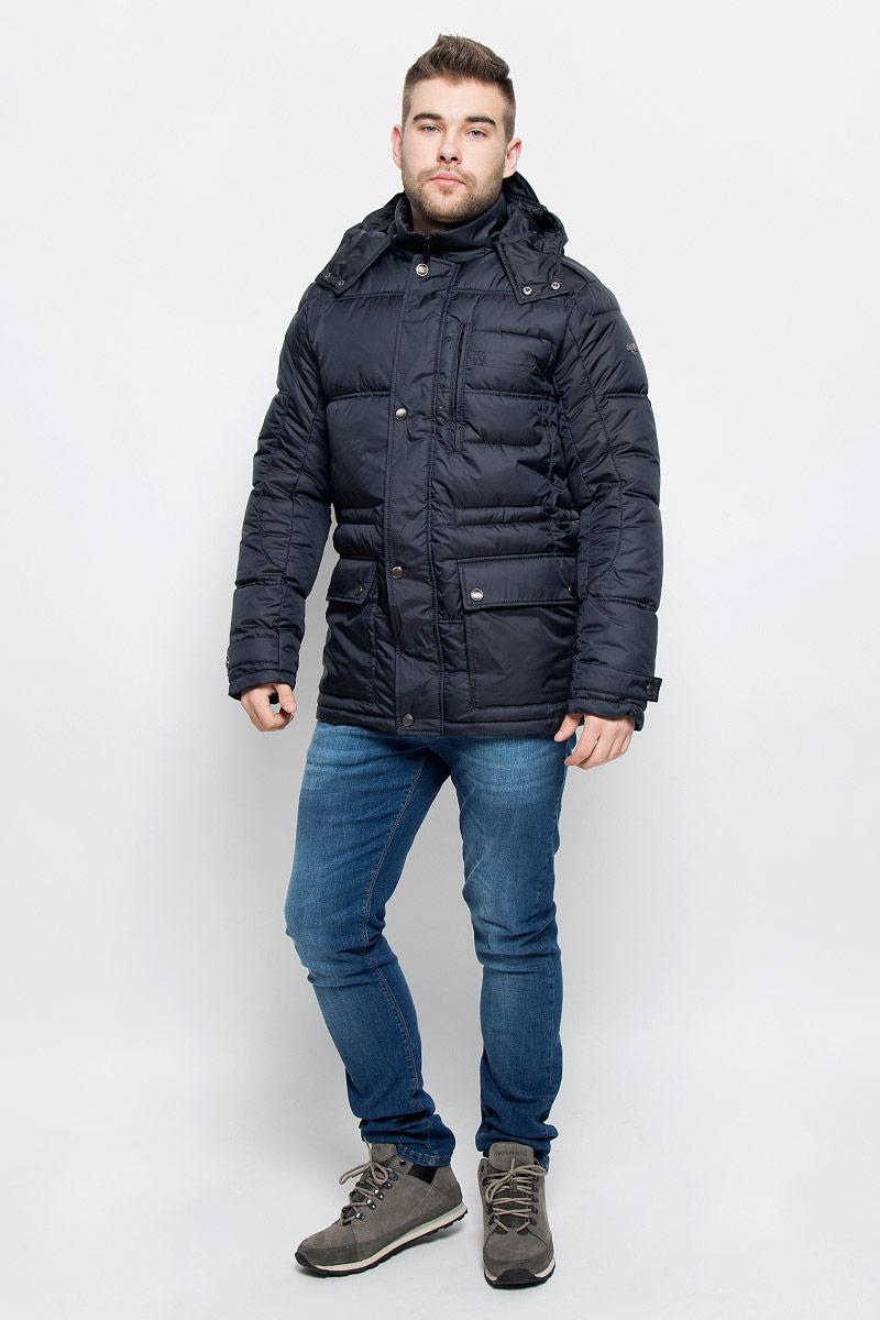 Куртка мужская Grishko, цвет: темно-синий. AL-2974. Размер 54AL-2974Мужская куртка Grishko изготовлена из высококачественного полиэстера. В качестве утеплителя и подкладки используется полиэфир.Куртка с воротником-стойкой и съемным капюшоном застегивается на застежку-молнию и дополнительно имеет ветрозащитную планку на кнопках. Капюшон дополнен эластичным шнурком со стоплерами и пристегивается к изделию за счет застежки-молнии. Низ рукавов дополнен хлястиками на кнопках. Спереди имеется два накладных кармана с клапанами на кнопках и прорезной карман на застежке-молнии, с внутренней стороны - два прорезных кармана на застежках-молниях. Модель оформлена металлической нашивкой в виде названия бренда.Теплоизоляция до -25°С.