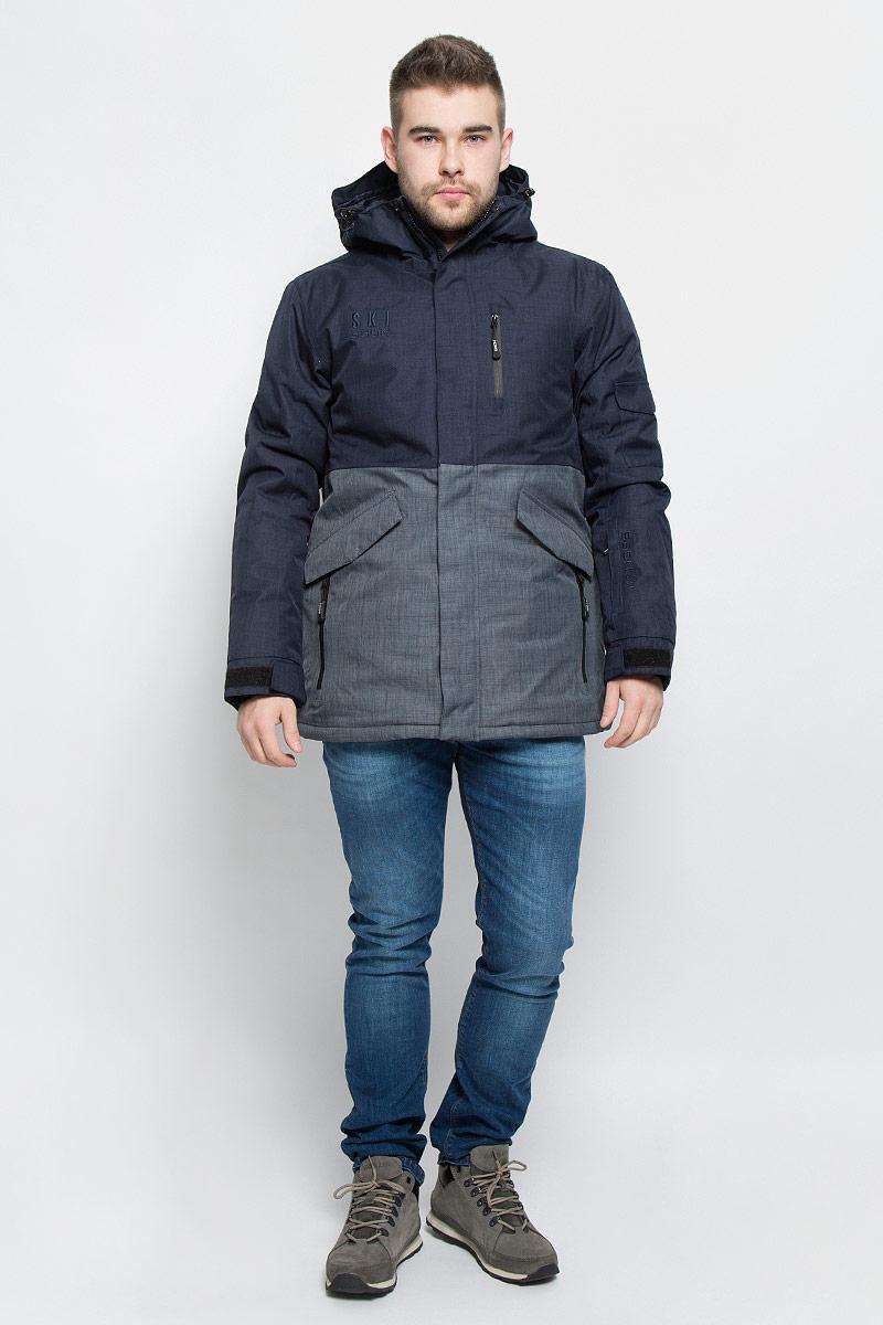 Куртка мужская Baon, цвет: темно-синий, серо-синий. B536906. Размер M (48)B536906_DEEP NAVY MELANGE-GREY MELANGEМужская куртка Baon изготовлена из высококачественного полиэстера. В качестве утеплителя используется полиэстер.Куртка с несъемным капюшоном застегивается на застежку-молнию с двумя бегунками и защитой для подбородка, а также дополнительно имеет ветрозащитный клапан на липучках и кнопках. Капюшон оснащен эластичными шнурками со стопперами. Низ рукавов дополнен внутренними эластичными манжетами с отверстиями для больших пальцев и хлястиками на липучках. Под рукавом расположена застежка-молния и сетчатый материал для дополнительной вентиляции. Низ изделия дополнен съемной ветрозащитной планкой на кнопках. Объем по низу регулируется с помощью эластичного шнурка со стоппером. Спереди имеется пять прорезных кармана на застежках-молниях. два из которых с клапанами на кнопках, с внутренней стороны - прорезной карман на застежке-молнии, небольшой накладной карман-сетка и накладной карман на липучке. На левом рукаве расположен небольшой прорезной карман на застежке-молнии и накладной карман с клапаном на липучке. Куртка оформлена фирменными нашивками и вышитыми названиями бренда.